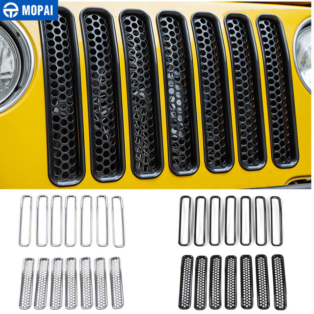 MOPAI For Jeep Wrangler TJ 1997 2006 Mesh Front Insert Grille Cover Trim Car Exterior Decoration ABS Stickers Car Styling