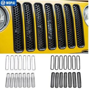 Image 1 - MOPAI Per Jeep Wrangler TJ 1997 2006 Anteriore Della Maglia Inserto Griglia di Copertura Trim Auto Esterno Decorazione ABS Adesivi Per Auto Auto styling