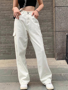 NCLAGEN Jeans Overalls Leg-Trouser Cargo-Pants Pocket Omighty Vintage Blue Loose White