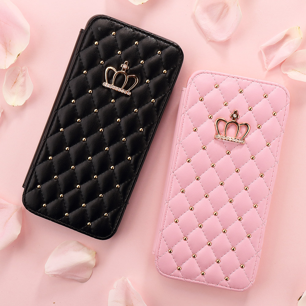 LAPOPNUT Crystal Glitter Crown Wallet Flip Case for IPhone SE 2020 11 Pro Max X Xr Xs 8 Plus 7 6S 6 5 5S Bling Leather Cover