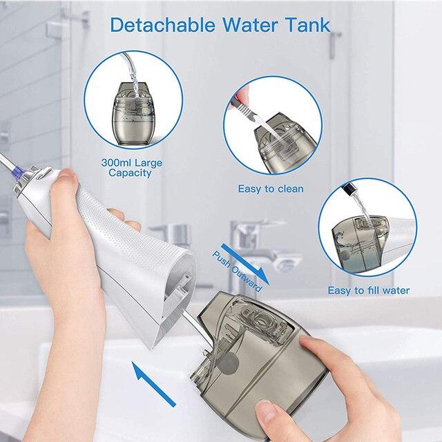 Irrigateur Oral portatif de 5 Modes avec le nettoyeur Rechargeable de dents dusb de réservoir deau de 300ML Flosser sans fil de leau de 8 astuces de Jet pour des dents