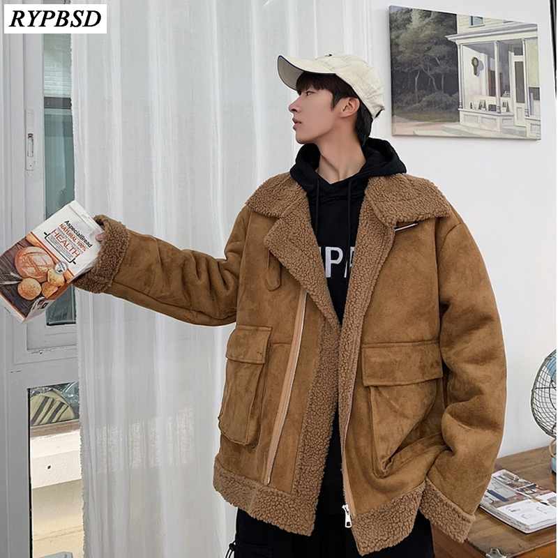 Winter Wool Jacket Men Thicken Warm Parkas Coat Men 2019 New Fashion Casual Loose High Quality Lamb Wool Coat Zipper Men M-XXL