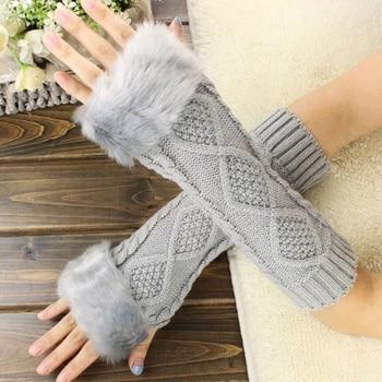 High quality Women Gloves Faux Fur Hand Warmer Winter Gloves Women Arm Crochet Faux Wool Mittens Knitted Warm Fingerless Gloves pair of stylish solid color faux fur fingerless gloves for women