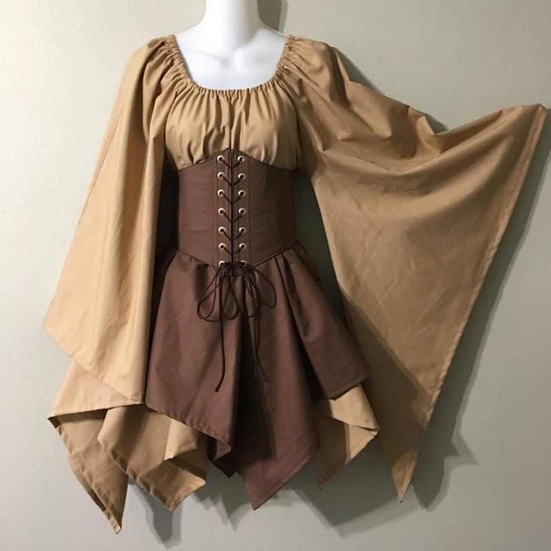 נשים מימי הביניים Elf פיות העלפים קוספליי תלבושות בחורה סלטיק נסיכת פורמליות שמלה גבוהה מותן חצאיות צד Cincher למעלה מחוך סט