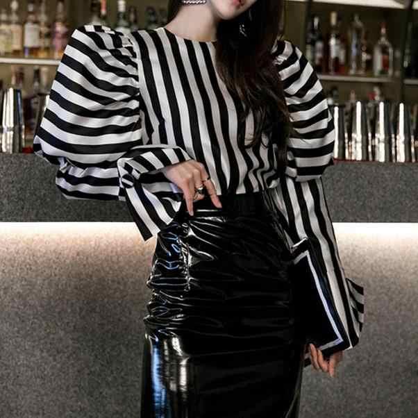 Camisas a rayas blusa mujer cuello redondo linterna de manga larga Vintage elegante camisetas femeninas 2020 primavera moda ropa AE599