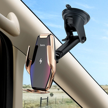 HOCO Qi Wireless Car Charger Automatic Infrared Clip Air Vent Mount Phone Holder Glass Surface 15W Fast for iPhone X