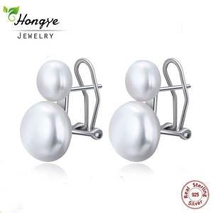 Hongye 925-Sterling-Silver Jewelry Stud-Earring Natural-Freshwater-Pearl-Earrings Women