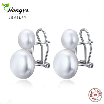 Hongye Natural Freshwater Pearl Earrings 925 Sterling Silver jewelry Double White Stud Earring for Women Wedding Gift