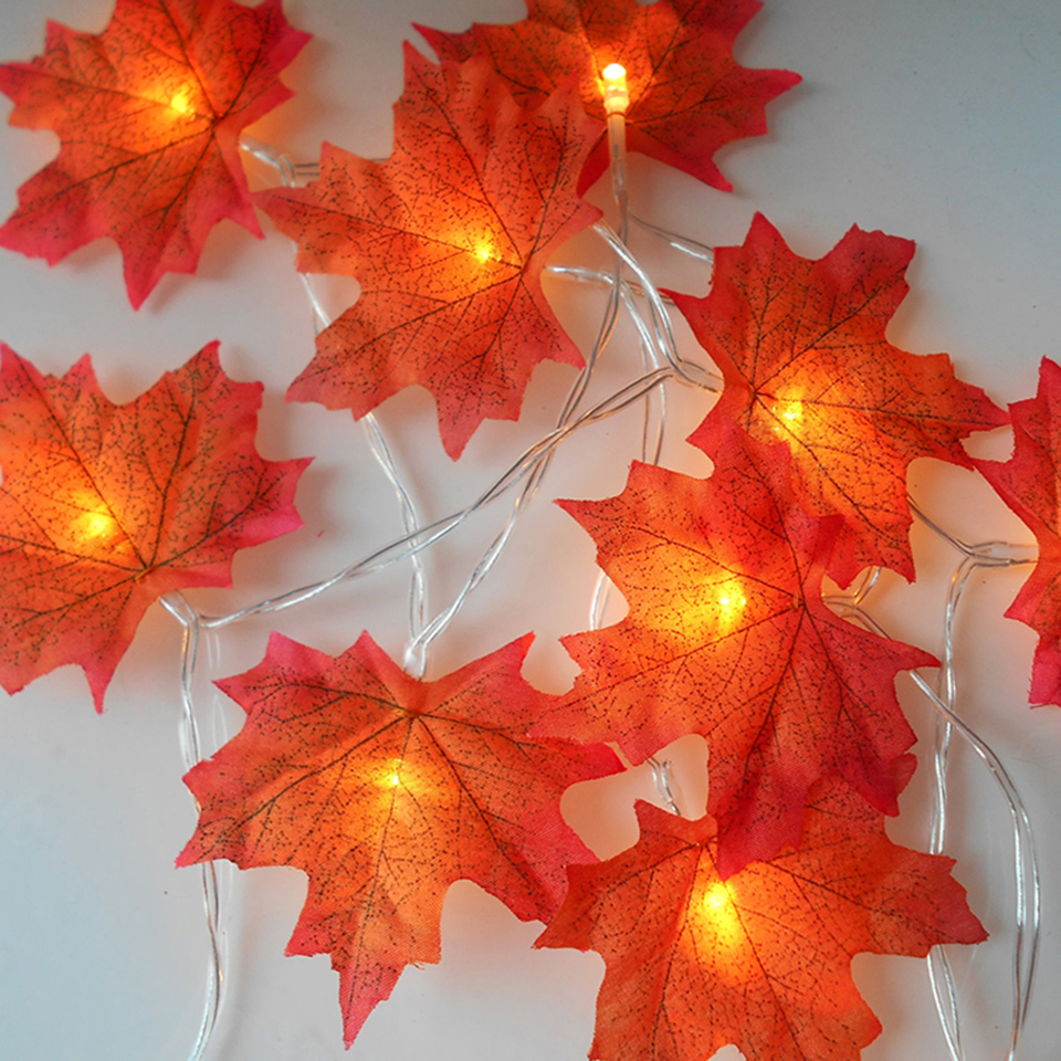LED Artificial Leaves Gold Green Maple Leaf Decorative Fall Leaves Autumn Leaves Garland Christmas Tree Decorations Home Decor