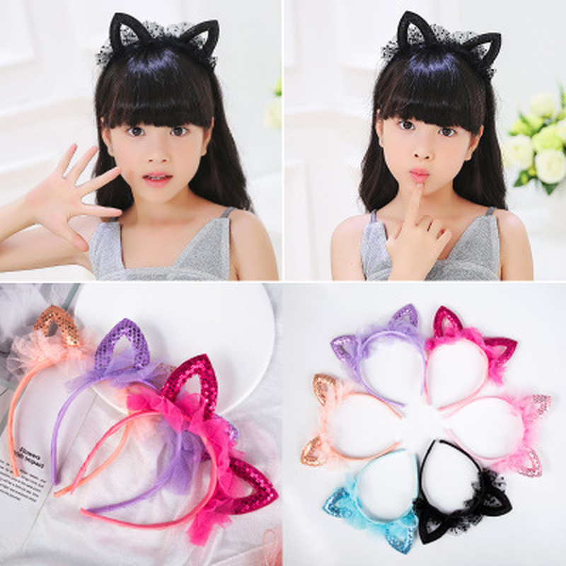 Cute Shiny Sequins Cat Ears Headband For Girl Manual Cat Ears Hairband Kid Hair Accessories For Women Cartoon Headband