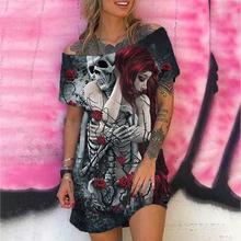 Gotycka czaszka kwiatowy Print Y2k sukienka kobiety Plus rozmiar moda Casual krótki rękaw Punk Off The Shoulder Mini sukienki 2020 lato tanie tanio CN (pochodzenie) Poliester Luźne Osób w wieku 18-35 lat F3G645 Slash neck NONE Na co dzień Naturalne Skull Powyżej kolana Mini