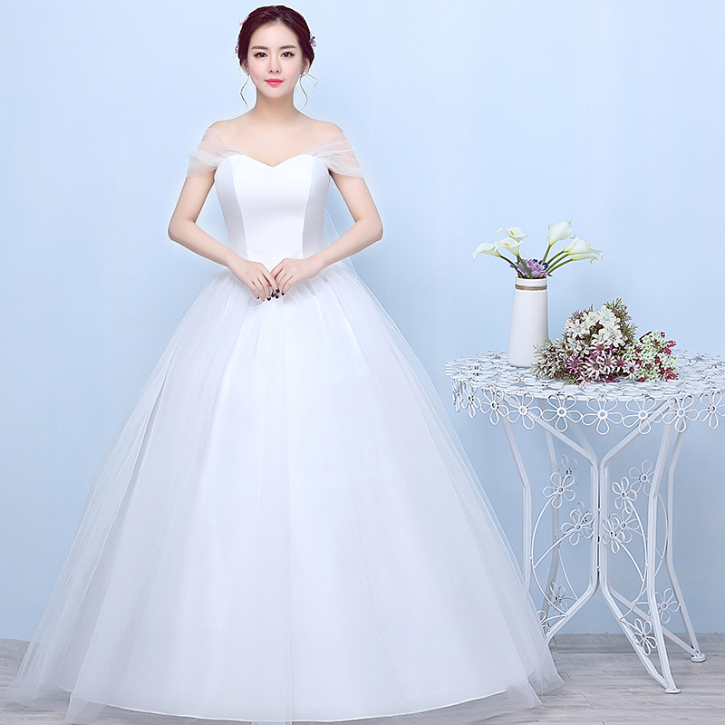 2019 Sale Top Fashion Strapless Word Shoulder Neat, Bitter Fleabane Skirt To Show Thin Big Yards Winter Wedding The Bride Dress