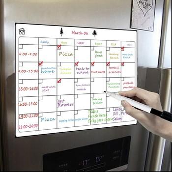 Łatwe wymazywanie kalendarza-A3 magnetyczne łatwe wymazywanie tygodniowy kalendarz do lodówki-lista artykułów spożywczych i tablica Menu tygodnia do lodówki tanie i dobre opinie Zawieszenie Typu Inne Soft Whiteboard Dry Erase Whiteboard Can Be Flexible Soft Writing Whiteboard Drawing and recording