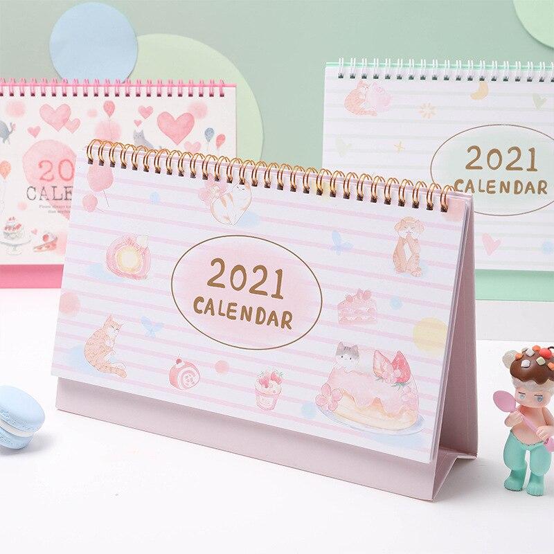 2021 Cat's Dessert House Desk Calendar Creative Bronzing Coil Calendars Daily Schedule Planner 2021.08-2021.12 3