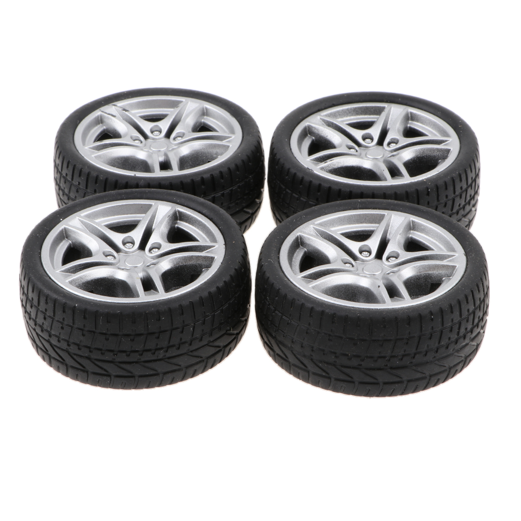1:10 <font><b>Scale</b></font> 4pcs Rubber 5 Spoke Wheel Rim & Tyres For <font><b>RC</b></font> Racing Car <font><b>Parts</b></font> image