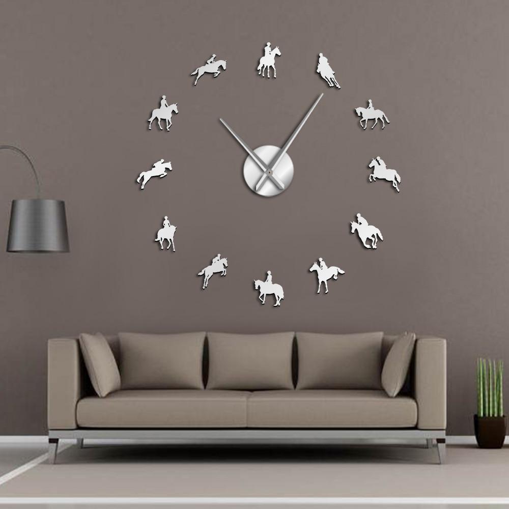 Equestrian DIY Large Wall Clock Equestrianism Decorative Wall Art Stickers Horse Race Horse Riding Mirror Effect Arylic Clocks