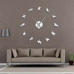 Jeździectwo DIY duży zegar ścienny Equestrianism naklejki dekoracyjne na ścianę koń wyścigowy jazda konna lustrzany efekt akrylowe zegary