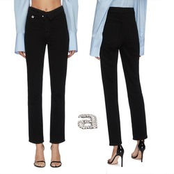 2020 Frühling Sommer EINE Brief Imitation Kristall Falten Hosen Drehen Taille Elastische Ankle-länge Hosen 9-punkt Jeans frauen Hose
