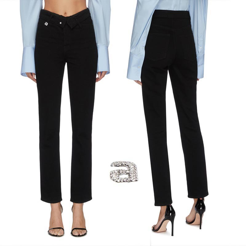2020 Spring Summer A Letter Imitation Crystal Fold Pants Turn Waist Elastic Ankle-length Pants 9-point Jeans Women's Pant