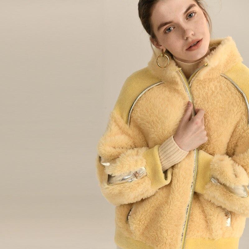Natural Real Fur Coat Women Winter Pink Leather Jacket 2020 Korean Thick Warm 100% Wool Coats Sheep Shearing Jacket 1925