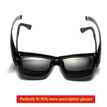 편광 된 Fit over 선글라스 커버 오버레이 처방 안경 근시 남자 여자 자동차 드라이버 대형 전송 안경