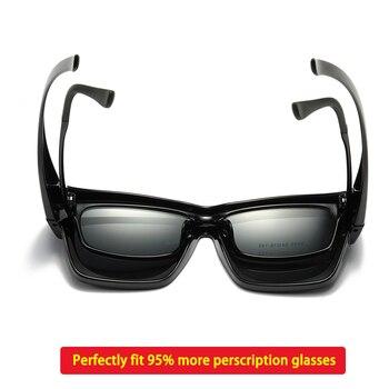 Polarized Fit-over sunglasses cover over overlay prescription glasses myopia man women car driver large size transfer eyewear