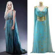 Cosplay Costume Daenerys Targaryen Long-Dress Halloween Sexy Color Chiffon Women Festival