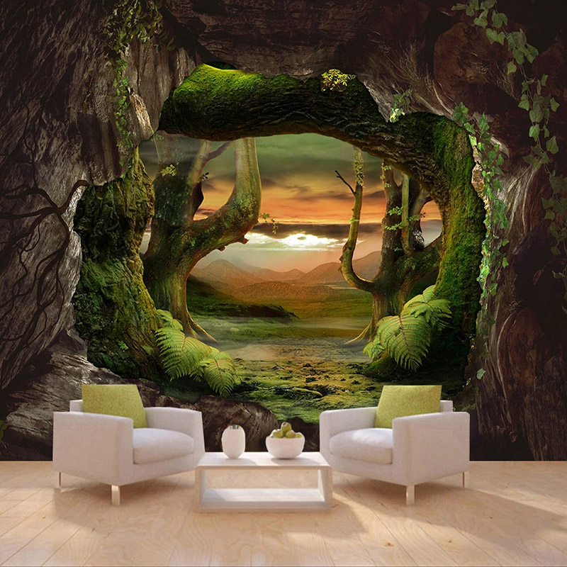Custom 3D Photo Wallpaper Cave Stone Wall Primitive Forest Large Mural Living Room Bedroom Wall Covering Wall Papers Home Decor