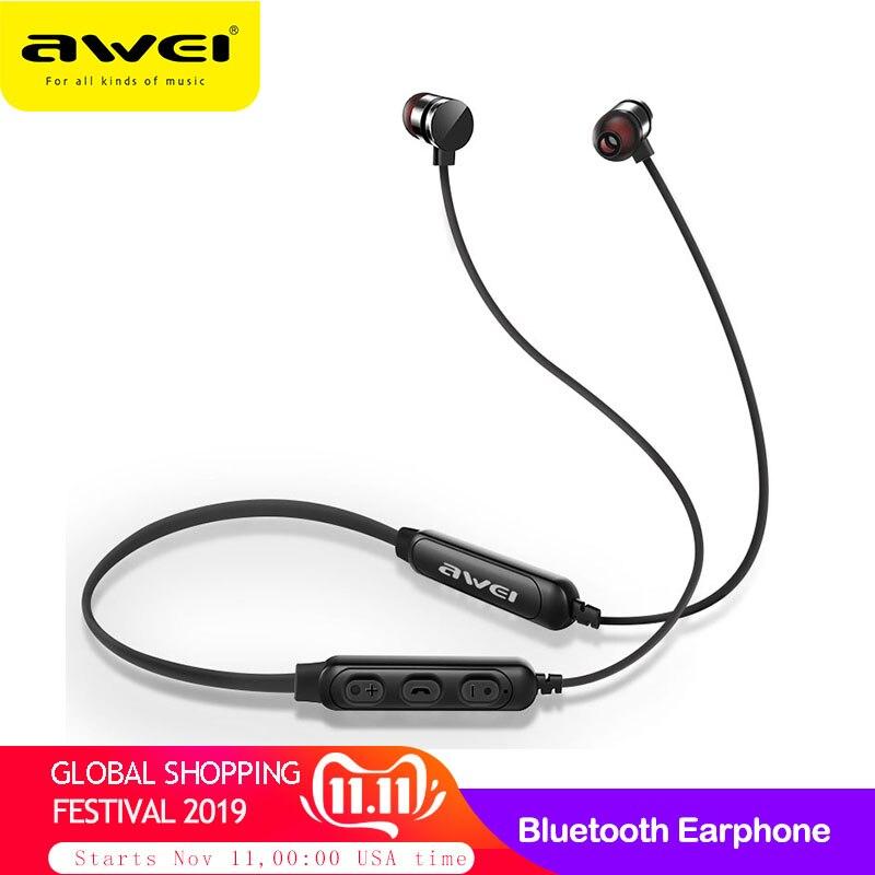 AWEI T11S Bluetooth Earphone Headphone Wireless Headset With Mic Neckband 3D Bass Stereo Sport Earbuds For Phone Fone De Ouvido