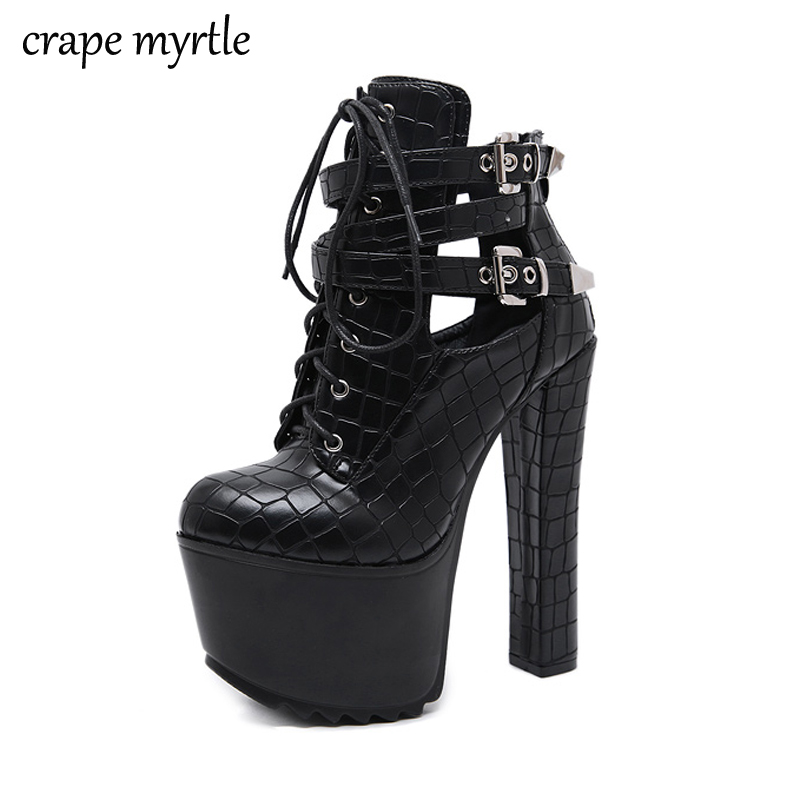 lace up Boots Fashion Thick Heel Ankle booties high heels black high boots for woman Autumn shoes Woman fall boots YMA918