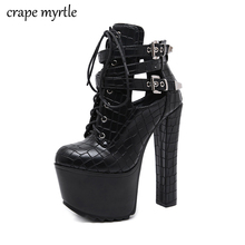lace up Boots Fashion Thick Heel Ankle booties high heels black boots for woman Autumn shoes Woman fall YMA918