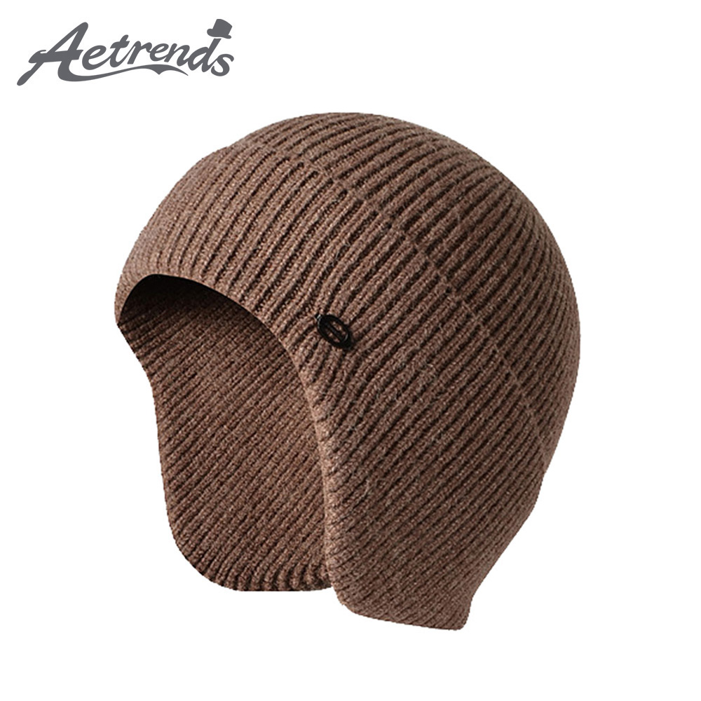 [AETRENDS] Men Women Beanie Hats Knit Skull Ski Cap with Ear Protection Winter Outdoor Sport Camping Hiking Skiing Z-10033