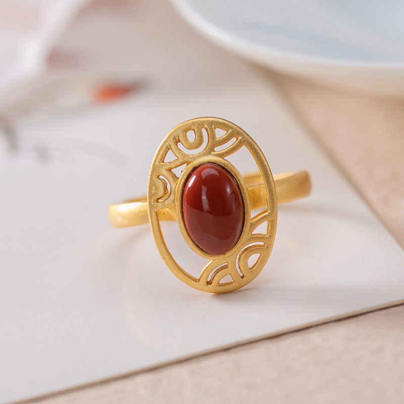 (Hetian) нефрита S925 стерлингового серебра Южной красное агатное кольцо леди темперамент ретро изысканный простой открытие на указательном пальце Ri