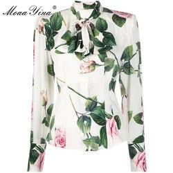 MoaaYina 2020, Высококачественная Модная шелковая блузка, летняя женская элегантная шелковая рубашка с воротником-бантом и цветочным принтом