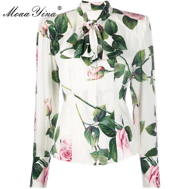 MoaaYina 2020 High Quality Fashion Silk Blouse Summer Women Bow Collar Floral-Print Elegant Silk Shirt