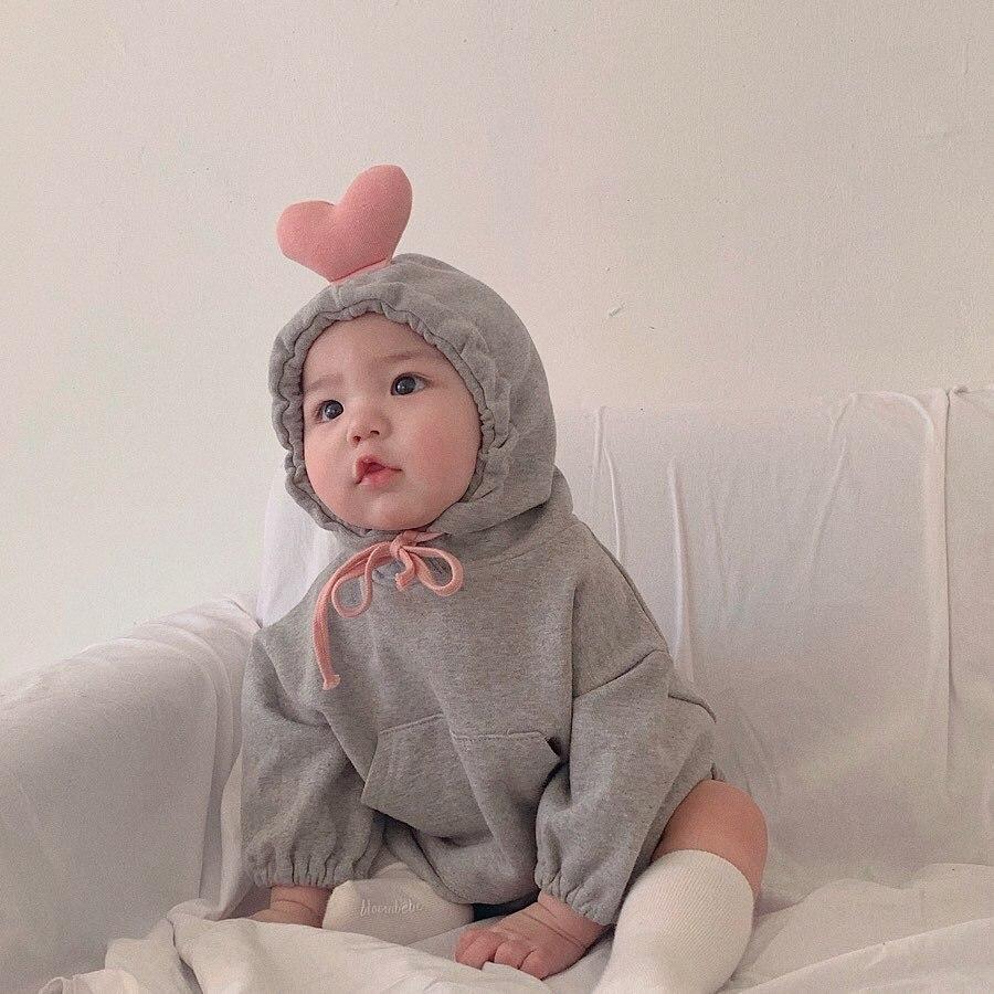 MILANCEL  Baby Clothing Cute Baby Boys Bodysuits Hood Infant Girls Bodysuit Heart Style Baby Bodysuit