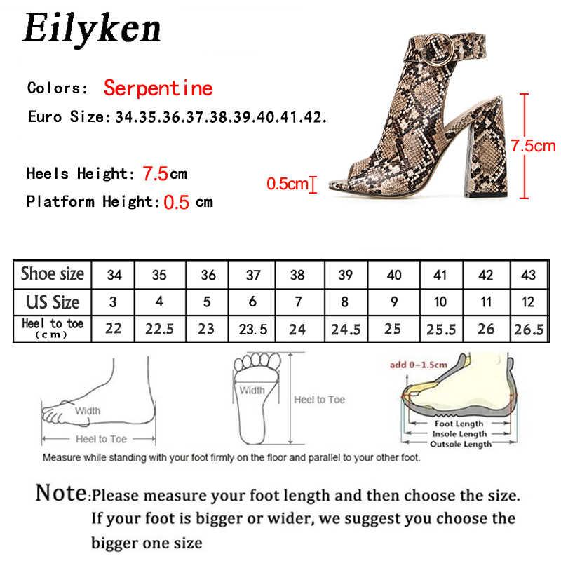 Eilyken 2020 yaz yeni roma gladyatör ayak bileği toka kayış sandalet çizmeler kadın seksi yılan tahıl Peep Toe kare yüksek topuk ayakkabı