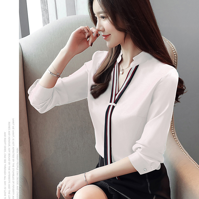 New Stand Collar Pullover Blouse Women Tops Chiffon Office Lady Long Sleeve White Red Women's Blouse Shirt Blusas Mujer 6469 50 5