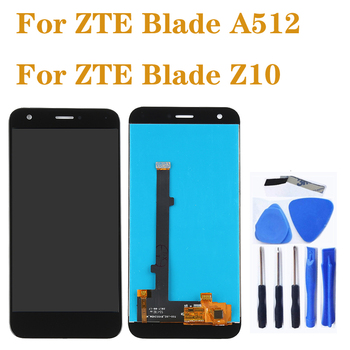high quality LCD For ZTE Blade A512 LCD + touch screen digitizer assembly for ZTE Z10 display Repair parts highest quality for zte blade z7 x7 v6 d6 t660 t663 lcd screen display touch screen digitizer assembly free shipping