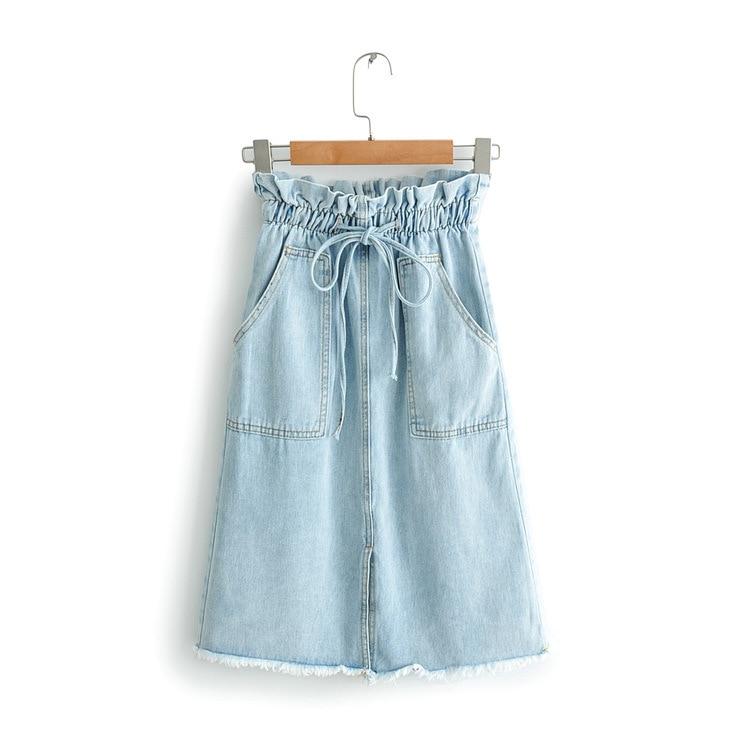 High-waisted Denim Skirt Women's Summer New Style Korean-style Elastic Waist Lace-up Slit Flash Mid-length Skirt S27024