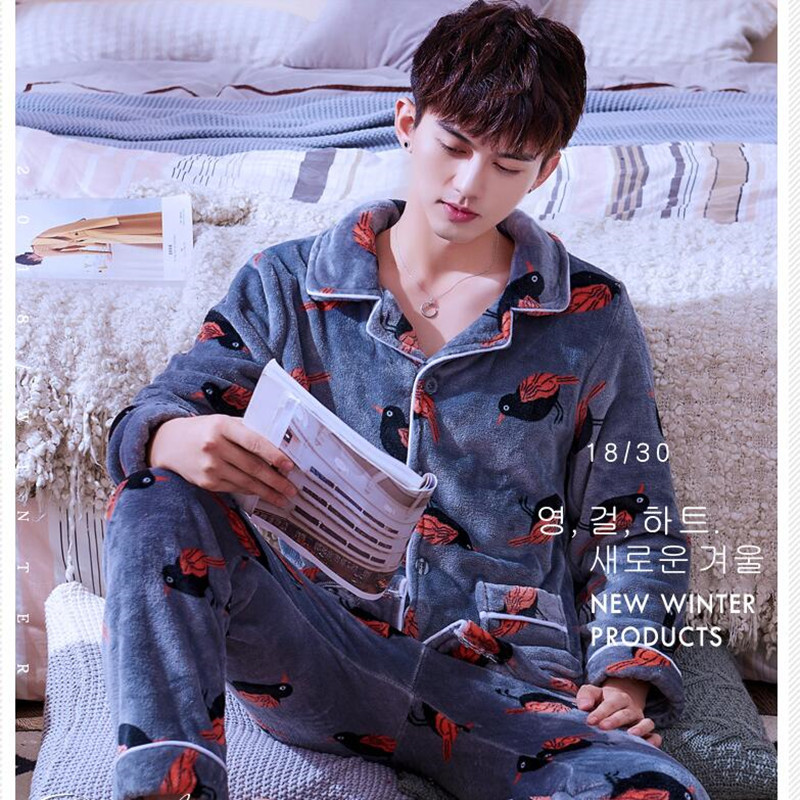 Men Pajamas Suits Male Thicken Flannel Autumn Winter Long-sleeved Coralline Velvet Homewear Leisure Comfortable Nightwear H5643