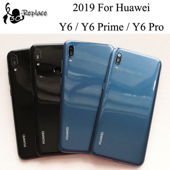 Oryginalny 6 1 cal nowy dla Huawei Y6 2019 Y6 Prime 2019 Y6 Pro 2019 powrót pokrywa baterii obudowa case tylne części szklane tanie i dobre opinie Perthde Plastikowe MRD-LX3 MRD-LX1 MRD-L21 MRD-L21A MRD-LX2 MRD-L22 MRD-LX1f Battery cover Black Blue 6 1 inch 100 test
