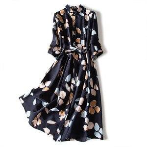 Women Dress Floral Print Plus Size Retro Silk Temperament Western Style Lapel Mulberry With Belt Mid Length Fashion Long Dress