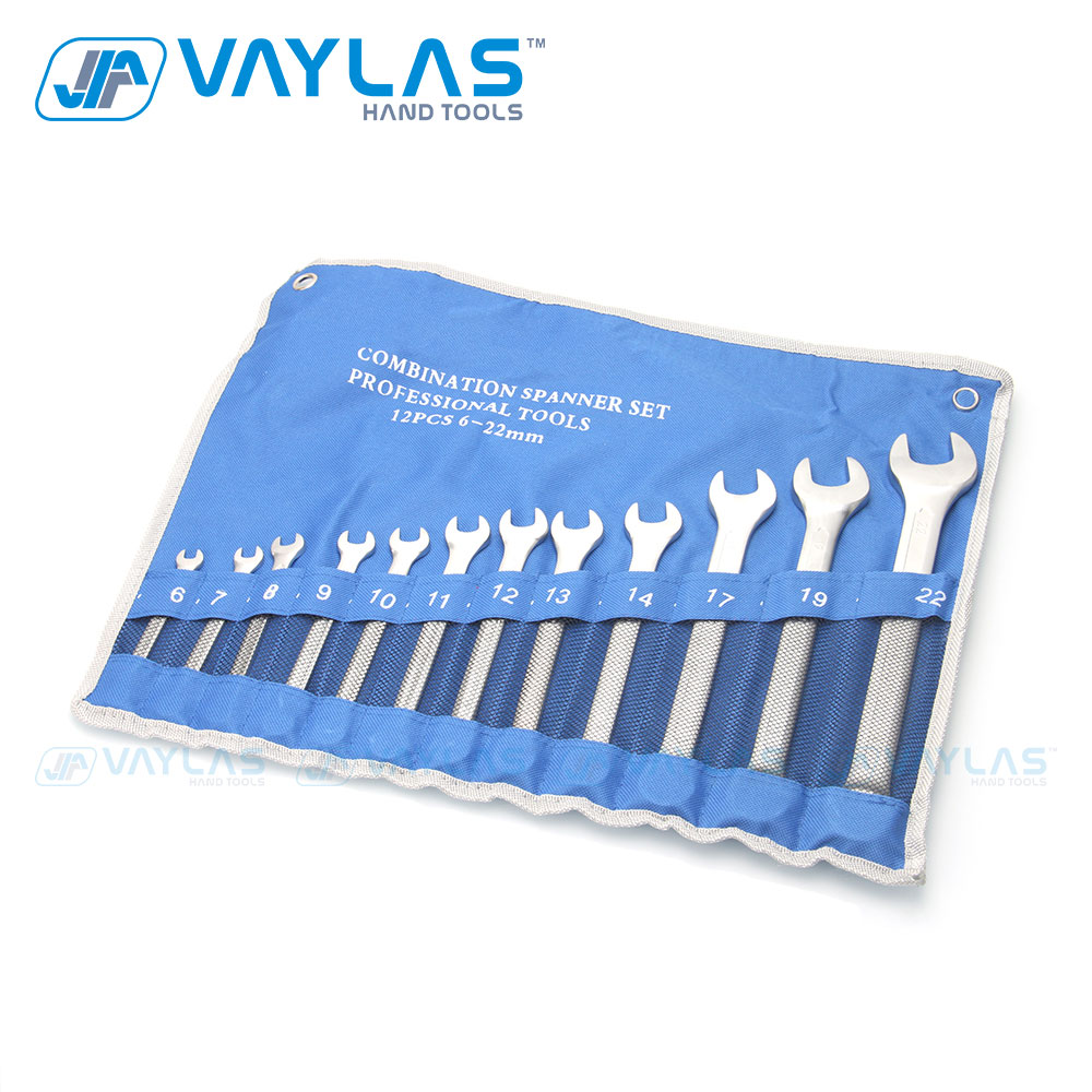 VAYLAS  12pcs Set Metric Matte Combination Wrench Fixed Ratcheting And Open End Spanner Repair Hand Tools 6~22mm