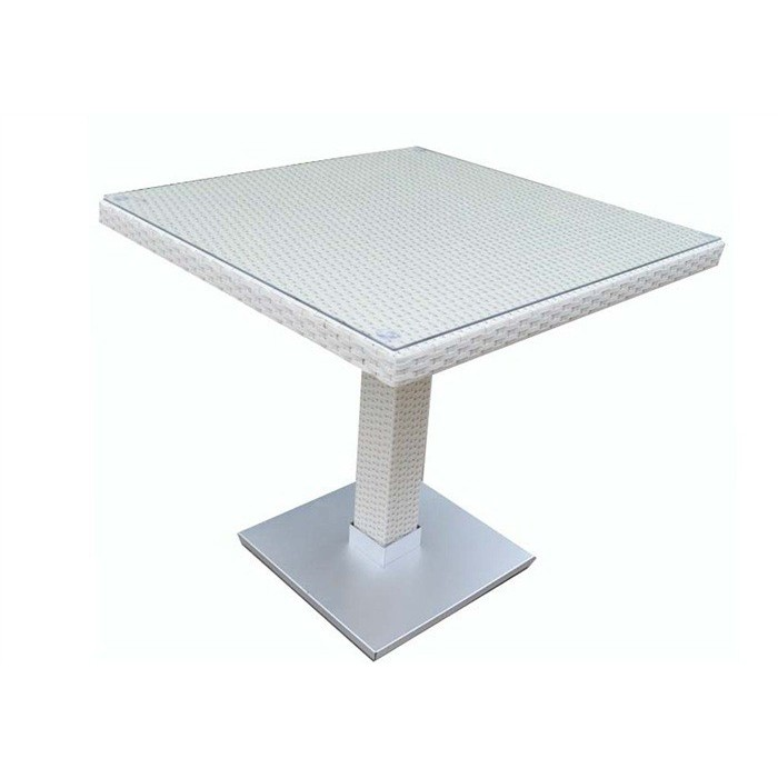 Table CANDICE, Aluminum, Rattan Beige White, 80x80 Cms