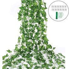 12pcs Fake Ivy Leaves Fake Vines Artificial Ivy Silk Ivy Garland Greenery Outdoor Hanging Plants for Wedding Home Accessories