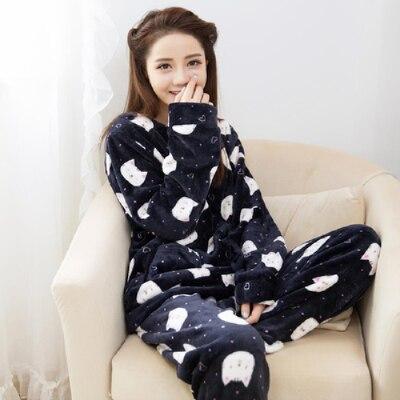 Special Price Autumn Winter Warm Women Pyjamas Sets Thick Coral Velvet Long Sleeve Cartoon Sleepwear Thin Flannel Pajamas Set 27