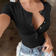 Buttons Scoop Neck Sexy Skinny Body Suit Tops Women Short Sleeve Bodycon Romper Bodysuits