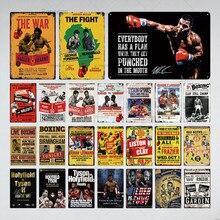 Cartel de Metal de boxeo, placa de letrero de estaño, Metal Vintage, decoración de pared para Bar, Pub, Club, hombre, cueva, carteles de Metal