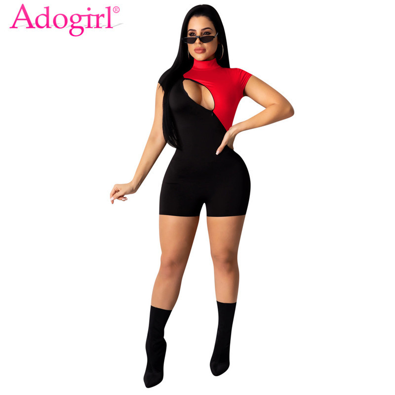 Adogirl Zipper Hollow Out Color Patchwork Women Jumpsuit Mock Neck Short Sleeve Casual Slim Romper Shorts Summer Playsuits